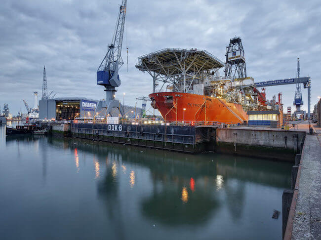 FPSO Petrojarl 1 in dock during refit_Damen Shipyard