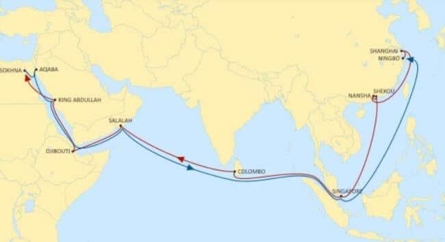 petra express MSC Asia_Red SEa