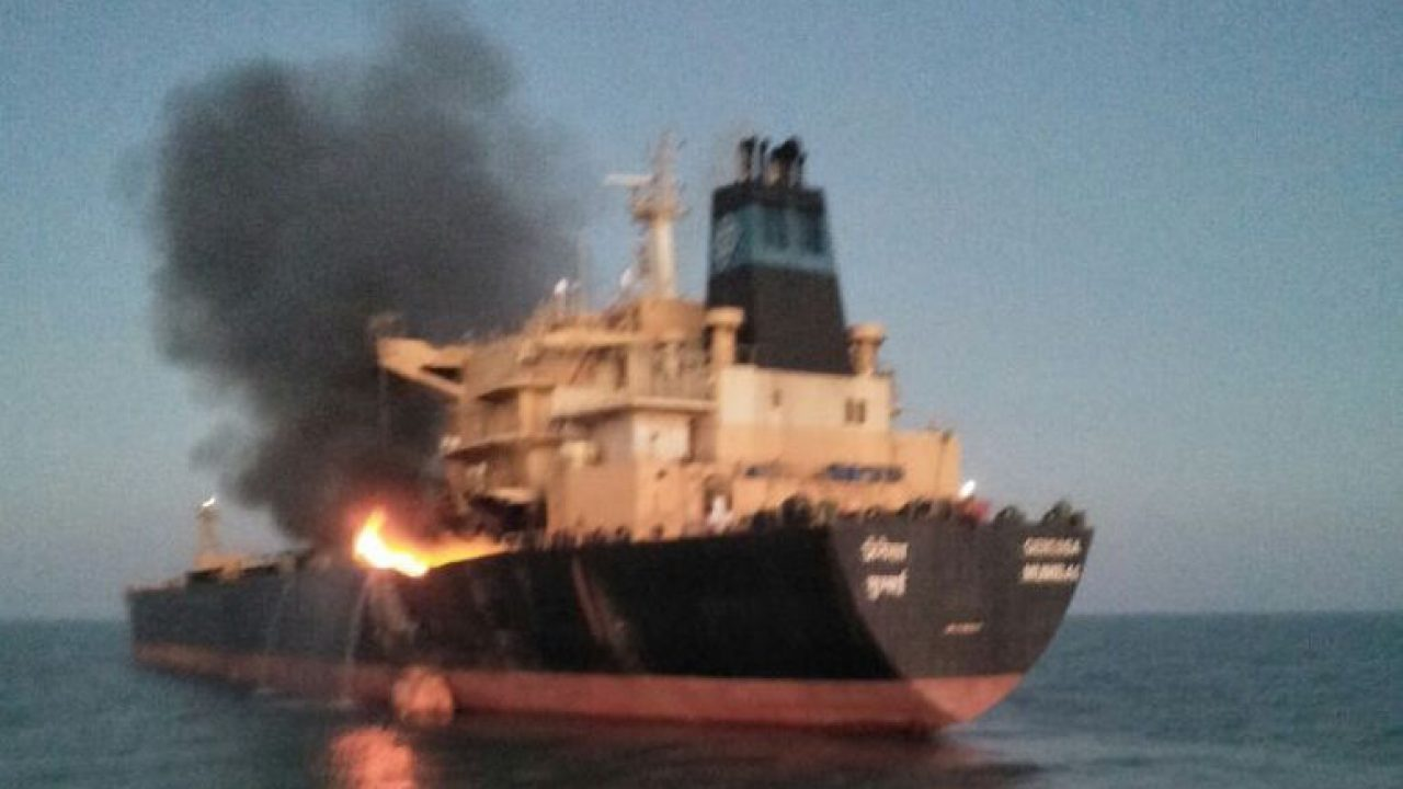 Breaking: Tanker Ship Catches Fire Near Kandla Port, India
