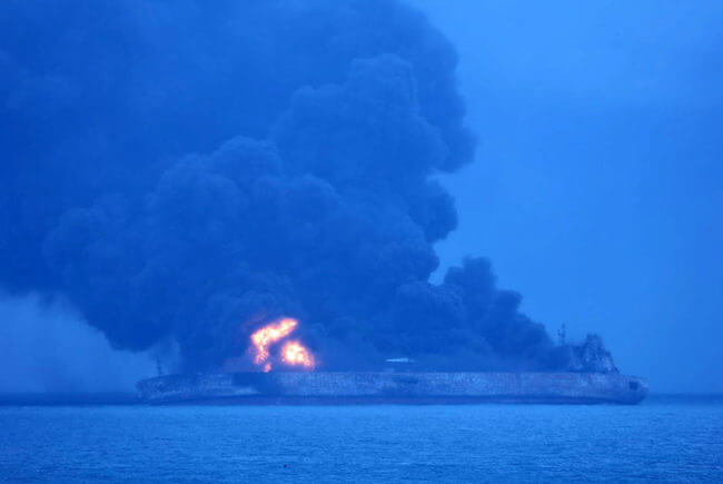 burning iranian tanker