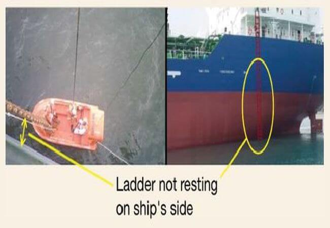 leader is not resting on ship side