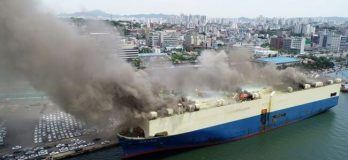 Watch: Panama Flagged Car Carrier Catches Fire