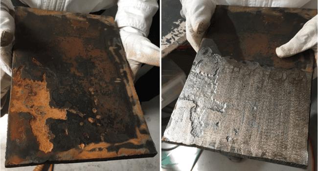 effect of cool lazer on steel on desk