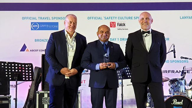 From left to right: Capt. Kuba Szymanski, Secretary General of InterManager; Prabhat Jha, Group Managing Director of MSC Shipmanagement; Mike Powell, Master of ceremonies