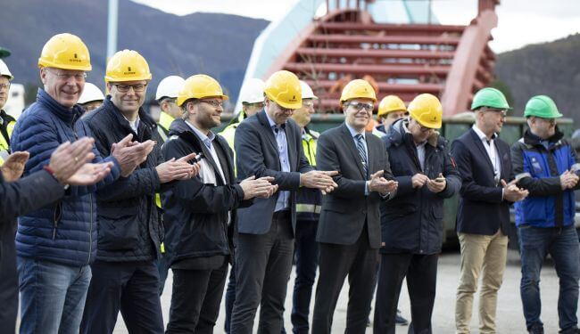 Color Line, Ulstein Verft and invited guests marked the kick-off on the Color Hybrid.