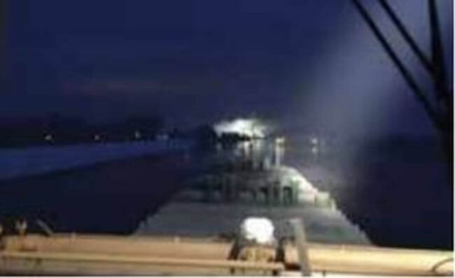 Vessel crashes into closed bascule bridge