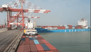 Major container ships collision at Nansha port, watch VIDEO