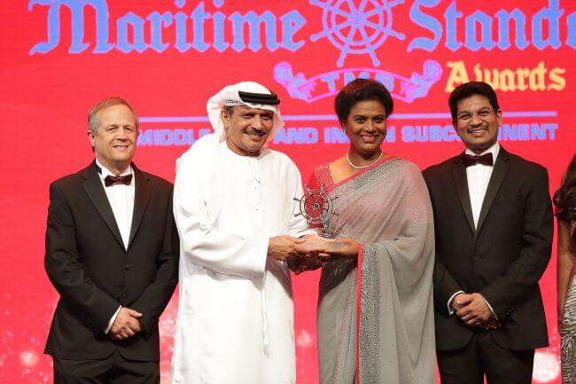 June Manoharan accepts the Maritime Standard Technology/Innovation Award on behalf of LUKOIL Marine Lubricants