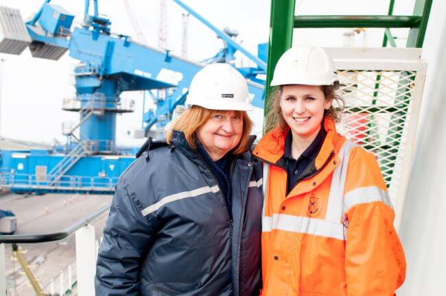 AoS Immingham Port Chaplain Bryony Watson and seafarer