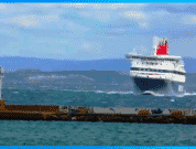 The Ship Mykonos drifting in strong winds while maneuvering