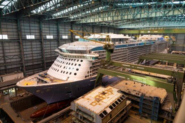 The Spectrum of the Seas leaves the dock