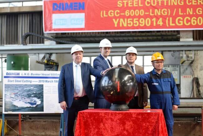 Steel cut for first short-sea LNG bunker vessel for Eesti Gaas at Damen Yichang Shipyard