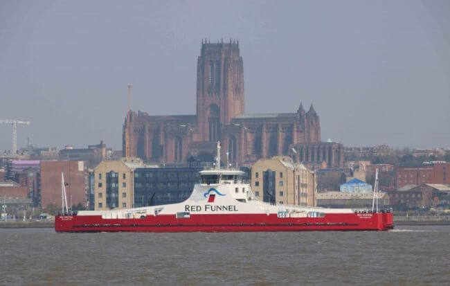 CAMMELL LAIRD STAGES 'SAIL-AWAY' OF NEWLY BUILT £10M FERRY THE RED KESTREL