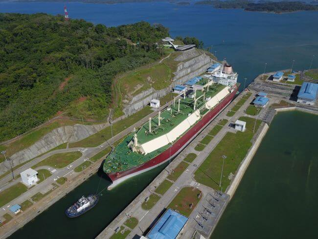 Panama Canal Largest LNG Tanker Transit_