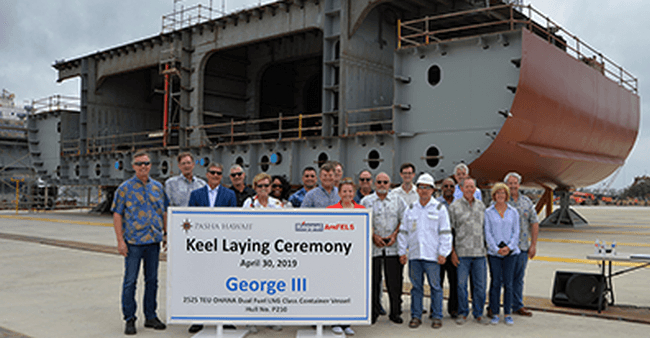 Pasha Hawaii Marks Construction Milestones At Keppel Amfels For New 'Ohana Class Containerships