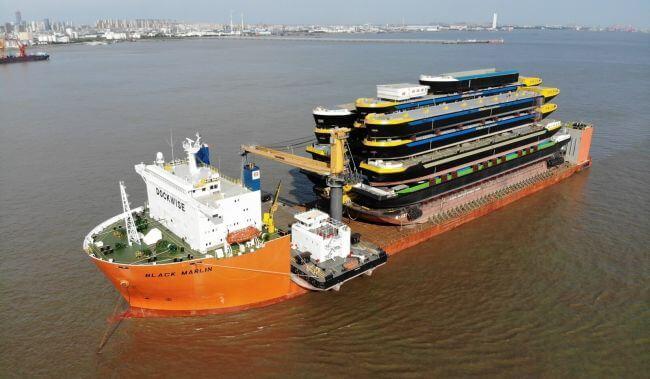 Concordia Damen ships 18 hulls from Shanghai to Rotterdam