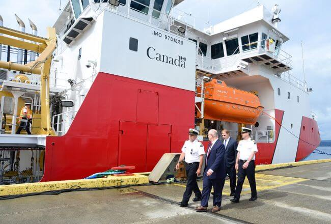 CEO-Mark-Lamarre-and-CPO-John-McCarthy-of-Seaspan-Shipyards-with-Canadian-Coast-Guard-officials