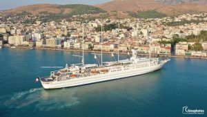 Impressive drone footage of the biggest sailing ship of the world, Club Med 2 at Chios port Greece.