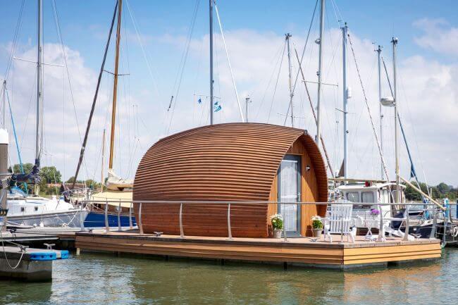 Unique floating accommodation unveiled at Thornham Marina in Walcon / Trafalgar Group collaboration