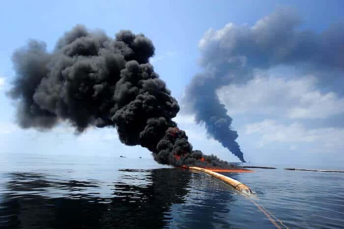 oil spill burning