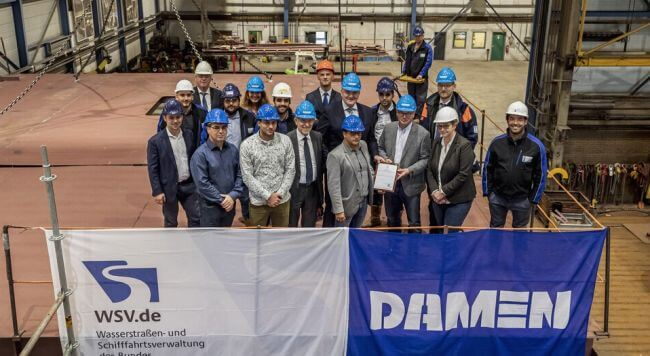 Damen KOBLENZ keel laying of diving_bell_ship