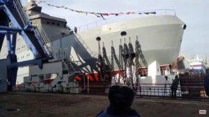 Russia Launches Head Icebreaker Of 23550 Project 'Ivan Papanin' In St. Petersburg