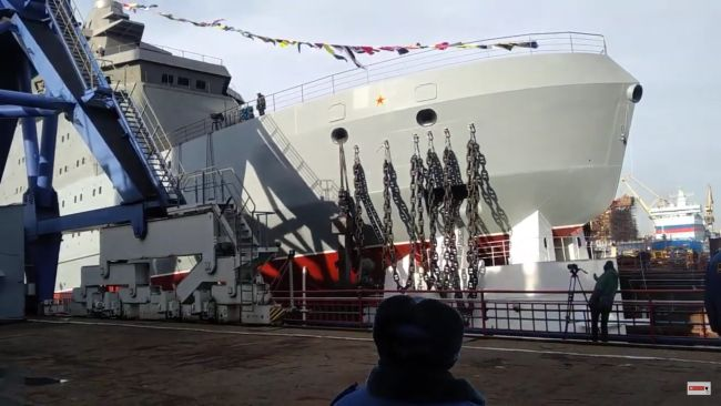 Russia Launches Head Icebreaker Of 23550 Project 'Ivan Papanin' In St. Petersburg (1)