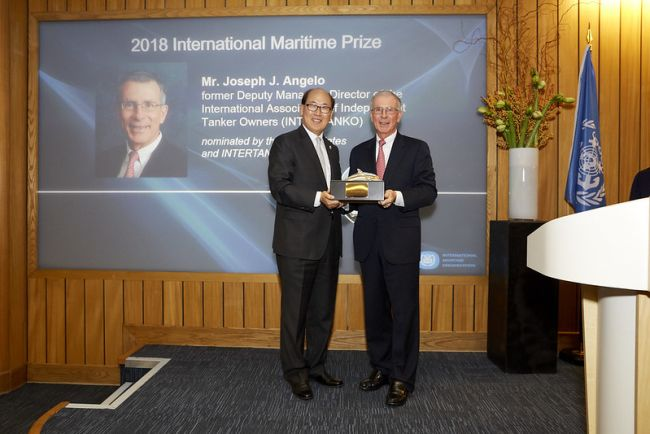 International Maritime Prize for 2018 presented to Mr. Joseph J. Angelo