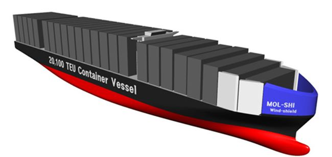 MOL Earns AIP for Design of Bow Wind-Shield, Ultra-large Containership