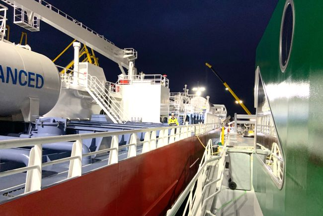 FlexFueler001 has delivered LNG as fuel to the vessel Ramelia whilst working cargo at the Oiltanking Terminal in Amsterdam