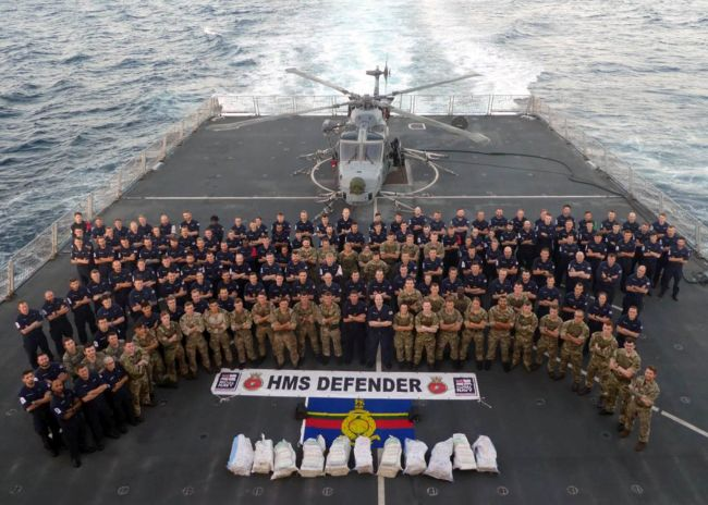HMS DEFENDER LANDS £3.3M HAUL IN MIDDLE EAST DRUGS BUST_0