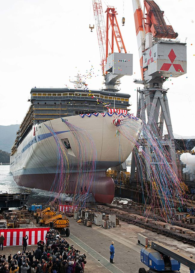 Mitsubishi Shipbuilding Holds Christening and Launch Ceremony in Shimonoseki for Second Passenger_Cargo Ship for Hankyu Ferry