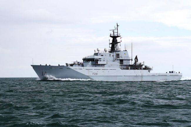 Royal Navy Patrol Ship Shadows Russian Ship On Christmas-Day