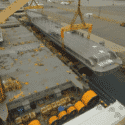 AAL Dampier Discharging an 86m Heavy Lift Superyacht Hull