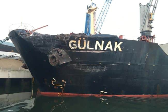 Damage to port bow of Gülnak