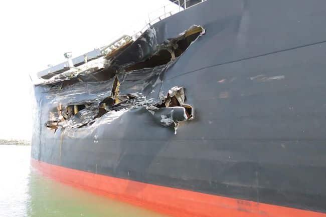 Damage to port side of Cape Mathilde
