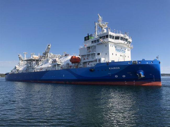 The LNG Bunker vessel 'Kairos' has been fitted with the Wärtsilä SceneScan laser-based targetless relative DP reference system. Picture copyright Jann Voss, TSI-LNG, BSM Germany