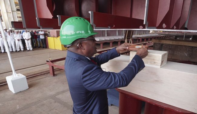 Vice Admiral Ibok-Ete Ibas at the keel-laying ceremony