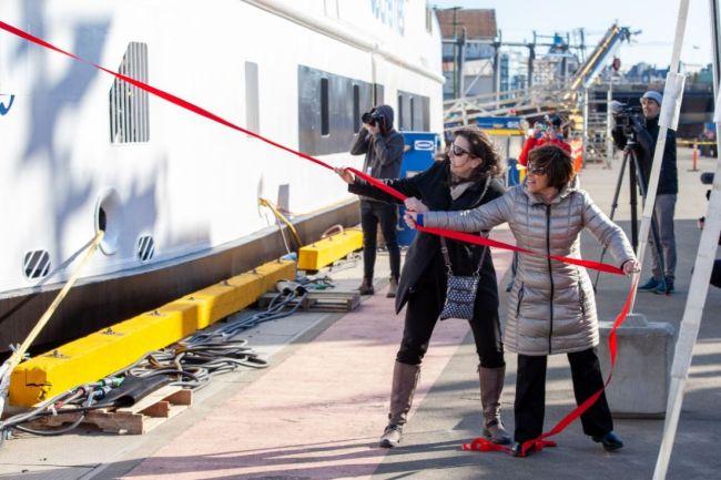 bc hybrid ferries corvus energy_island class_co sponsors pulling ribbon