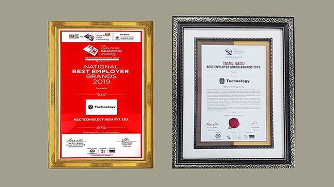MSC TECHNOLOGY INDIA WINS TWO 'BEST EMPLOYER' AWARDS
