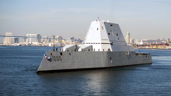 Official U.S. Navy file photo of the guided-missile destroyer USS Zumwalt (DDG 1000) arriving at its new homeport in San Diego.