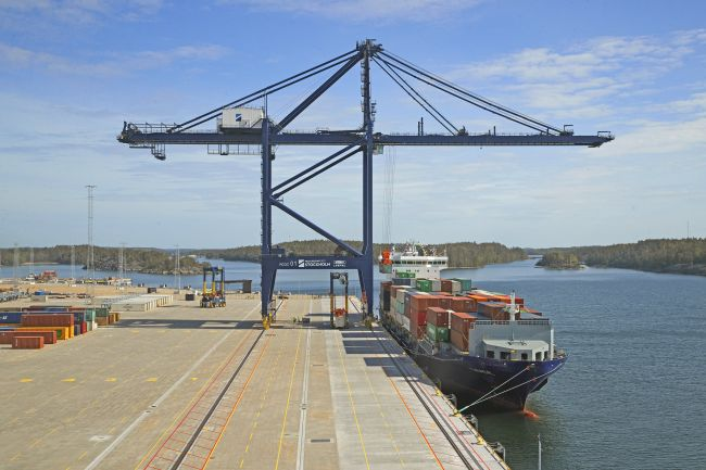 Arrival of the first container ship at Stockholm Norvik Port