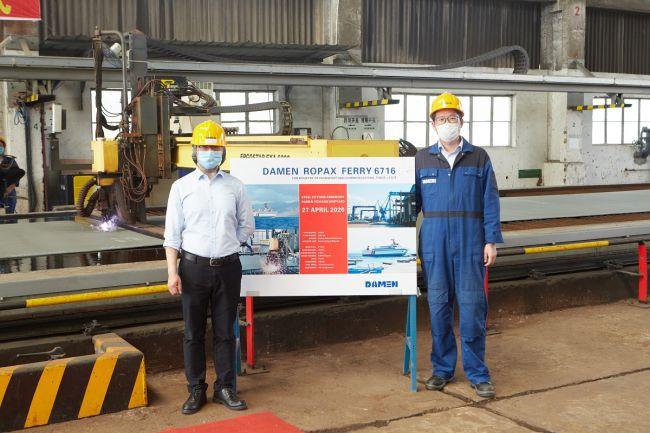 Damen hosts digital steel-cutting ceremony for RoPax vessel (2)
