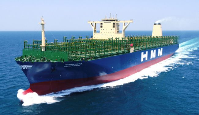 HMM's super large container ship 'HMC Copenhagen', which Daewoo Shipbuilding and Marine Engineering delivered the second time