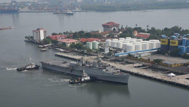 Repatriated Indians Arrive Kochi Onboard Indian Naval Warship INS Jalashwa from Maldives