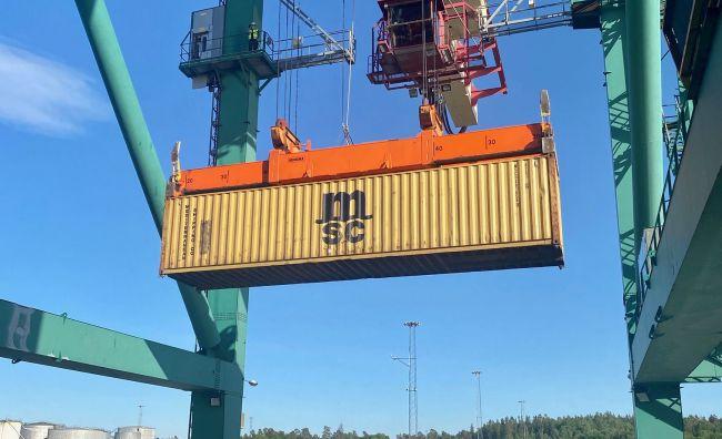 Last container in Frihamnen