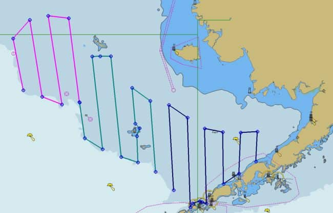 Planned Saildrone survey transects The colors indicate the tracks of different Saildrones Image credit NOAA Fisheries