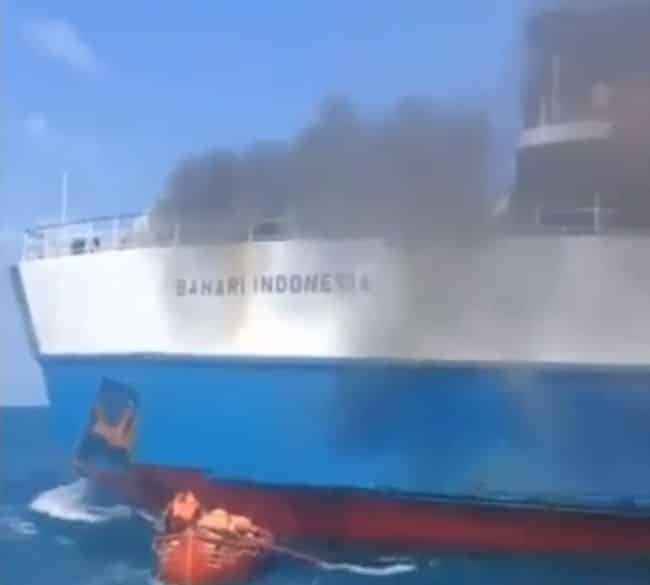 Cargo Ship Catches Fire in Indonesia, Cause Unknown