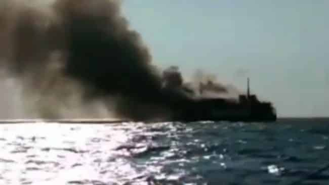 Cargo ship in indonesia on fire