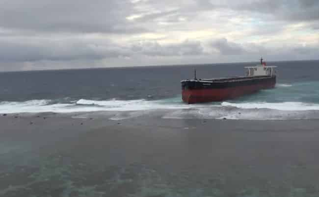 Off-Course Bulk Carrier Beaches On A Reef Off The Coast Of Mauritius